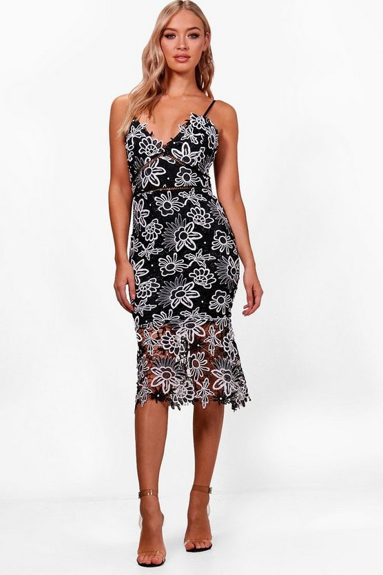 Boutique Floral Lace Back Midi Dress