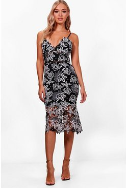 Womens Black Boutique Floral Lace Back Midi Dress