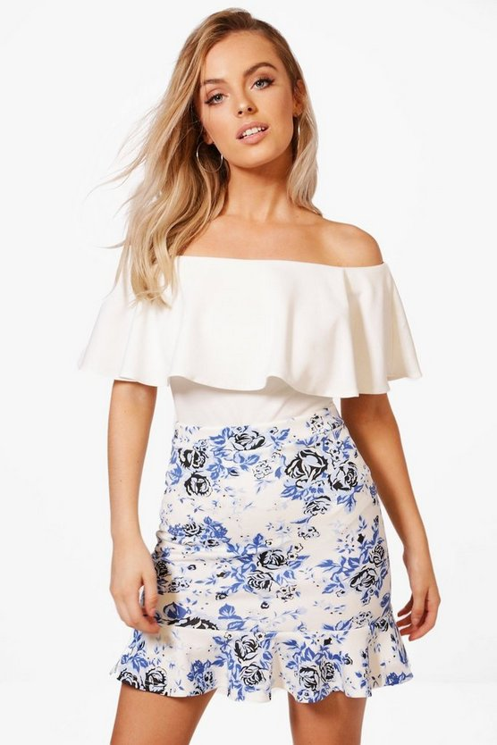 Bella Floral Ruffle Hem Mini Skirt