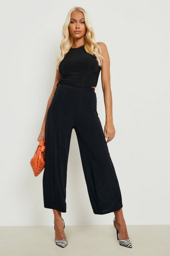 Womens Black Basic Soft Slinky Wide Leg Culottes