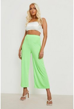 Citrus lime Basic Soft Slinky Wide Leg Culottes