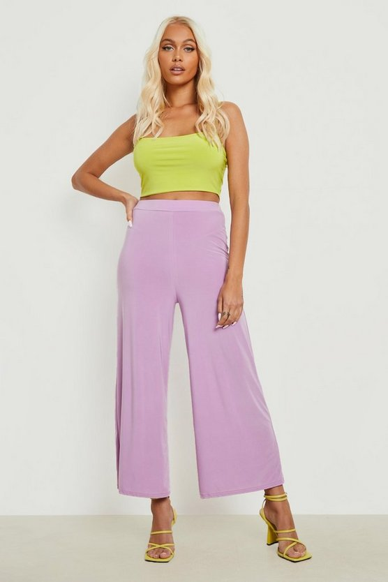 Womens Electric lilac Basic Soft Slinky Wide Leg Culottes