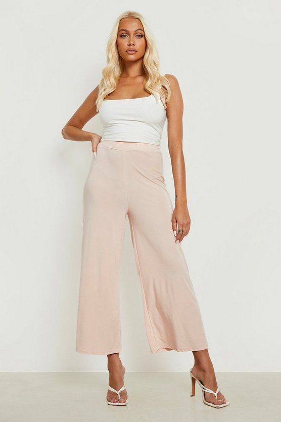 Womens Nude Basic Soft Slinky Wide Leg Culottes