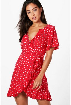Womens Red Star Wrap Tea Dress