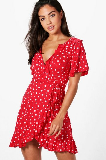 Red Star Wrap Tea Dress