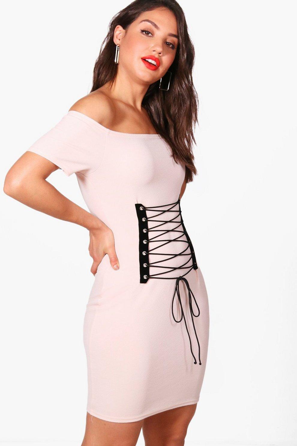 aa845b05f07c Grace Off Shoulder Bandeau Corset Bodycon Dress