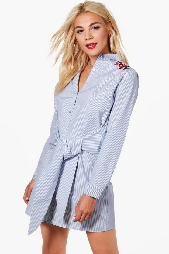 Pin Stripe Waist Embroidered Shirt Dress, Голубой, Женские