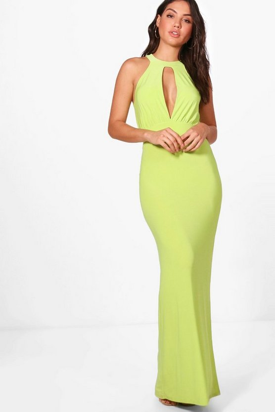 Plunge Front Keyhole Maxi Dress