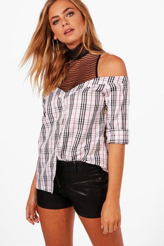 Mesh Insert Off The Shoulder Shirt