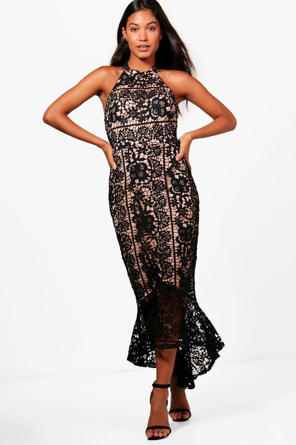 cd9e079694 Boutique Lace Frill Hem High Neck Dress