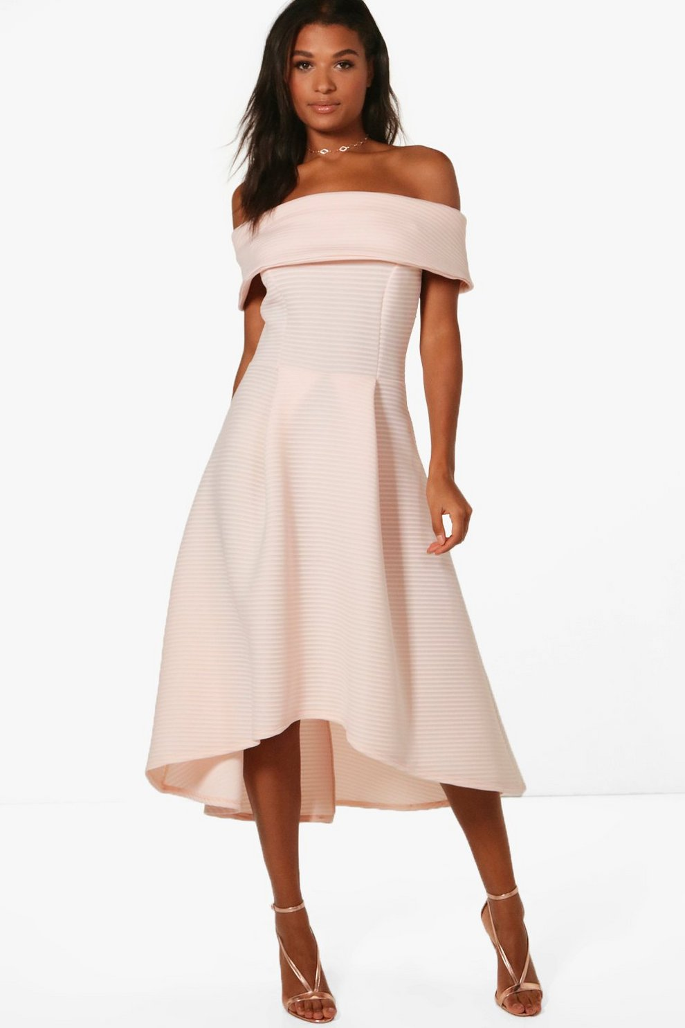 4dfd38c0bb1 Womens Nude Faye Oversized Off The Shoulder Skater Dress