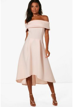 Womens Nude Faye Oversized Off The Shoulder Skater Dress