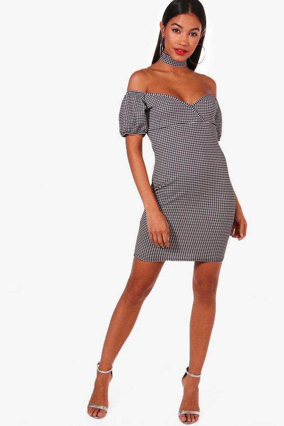 Off Shoulder Gingham Choker Bodycon Dress