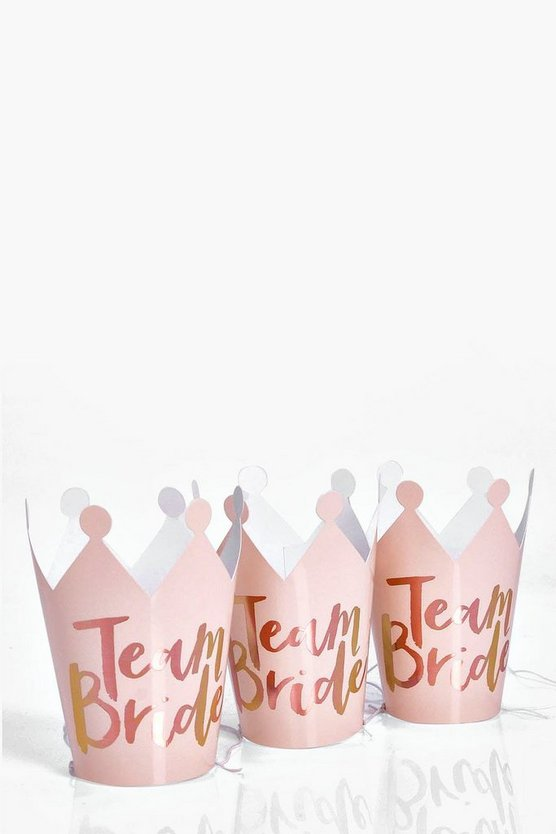 Rose gold Ginger Ray Team Bride Hen Crowns 5Pk