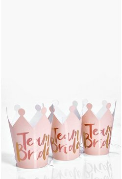 Womens Rose gold Ginger Ray Team Bride Hen Crowns 5Pk