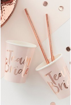 Team Bride Hen Party Cups 8 Pack, Rose gold