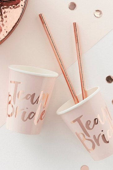 Rose gold Team Bride Hen Party Cups 8 Pack