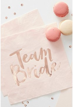 "Rose gold ""Team bride"" servetter till möhippa (16-pack)"