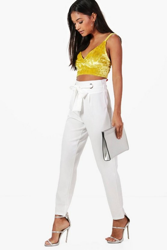 White High Waist Eyelet Detail Slim Fit Trousers