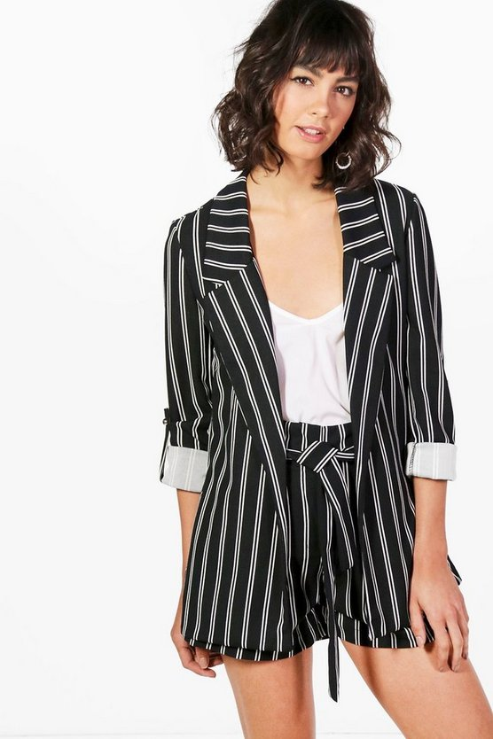 Womens Black Paige Stripe Tailored Blazer