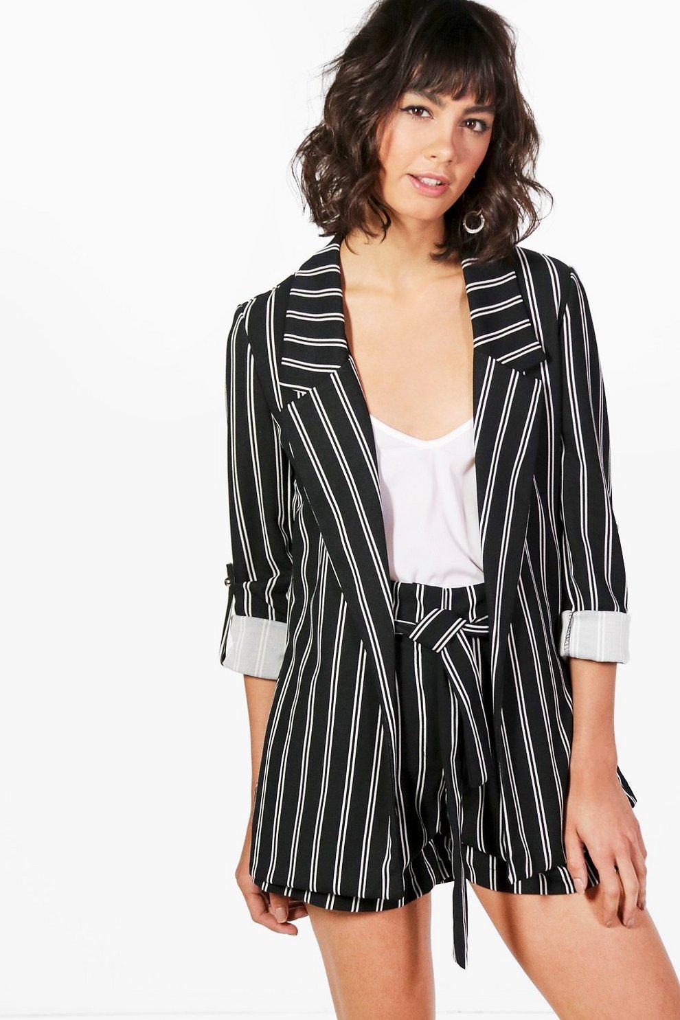 44bfd87e09e9 Paige Stripe Tailored Blazer | Boohoo