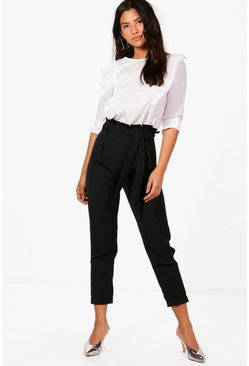 Womens Black Premium Paperbag Waist Tailored Pants