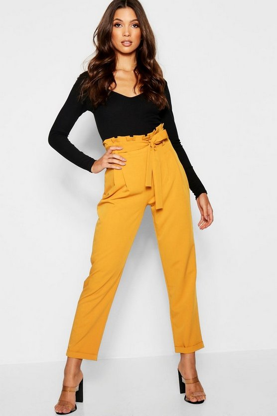 Womens Mustard Premium Paperbag Waist Tailored Trouser