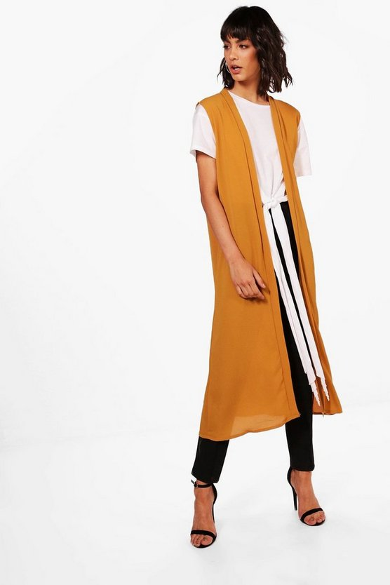 Womens Mustard Harriet Sleeveless Chiffon Duster