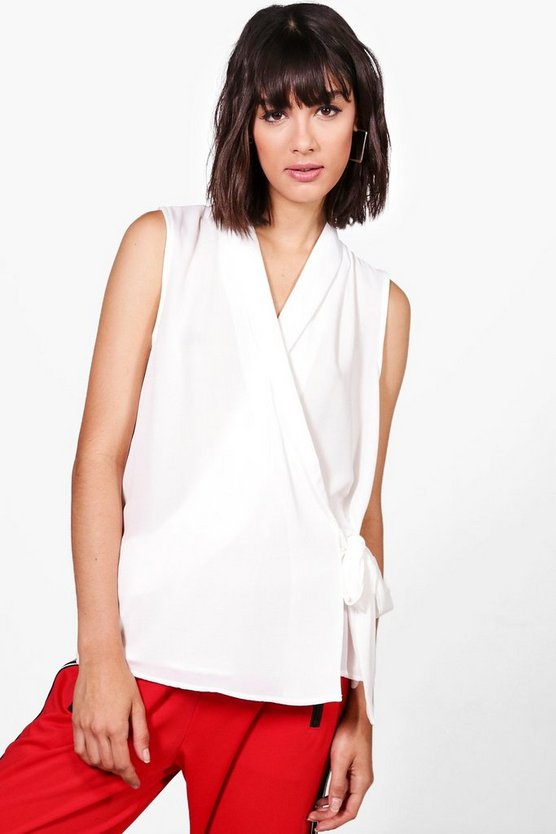Womens Ivory Freya Wrap Over Sleeveless Shirt