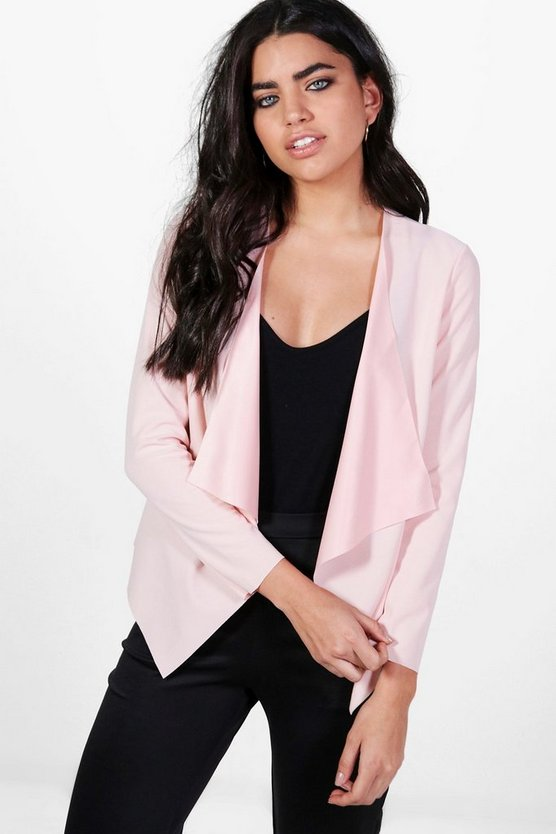 Kaley Waterfall Scuba Crepe Blazer