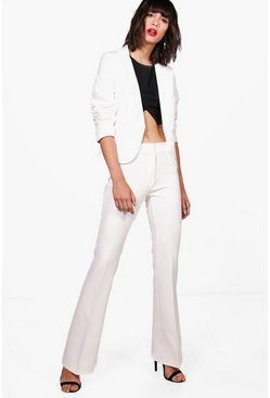 Womens White Erin Premium Wide Leg Tailored Suit Trouser