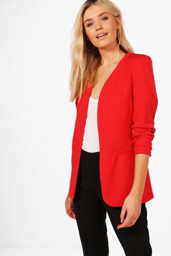 Sophie Collarless Tailored Lined Woven Blazer