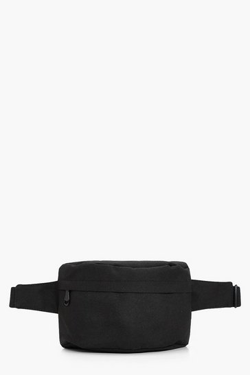 Womens Black Canvas Bumbag