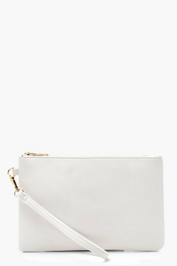 Womens Ivory Cross Hatch Zip Top Clutch Bag