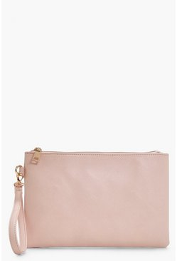 Nude Cross Hatch Zip Top Clutch Bag