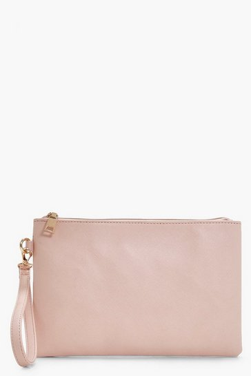 Womens Nude Cross Hatch Zip Top Clutch Bag