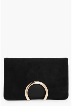 Womens Black Metal Circle Suedette & PU Clutch Bag