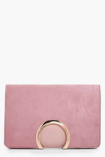 Womens Blush Metal Circle Suedette & PU Clutch Bag