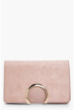 Taupe Metal Circle Suedette & PU Clutch Bag