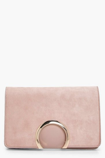 Womens Taupe Metal Circle Suedette & PU Clutch Bag
