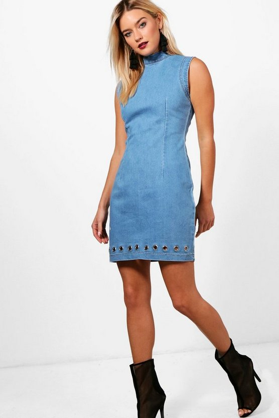 High Neck Eyelet Denim Bodycon Dress
