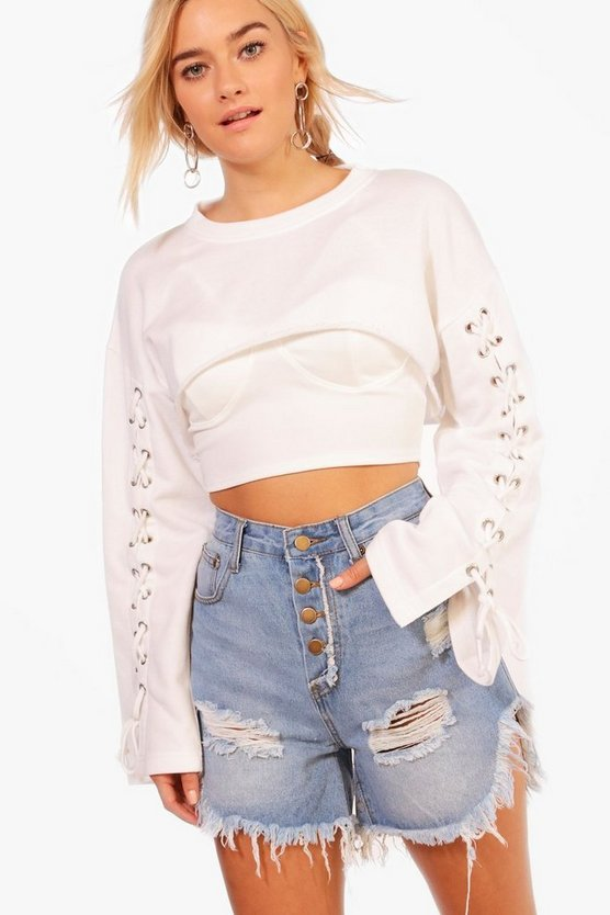 Rowan Button Fly Distressed Denim Shorts