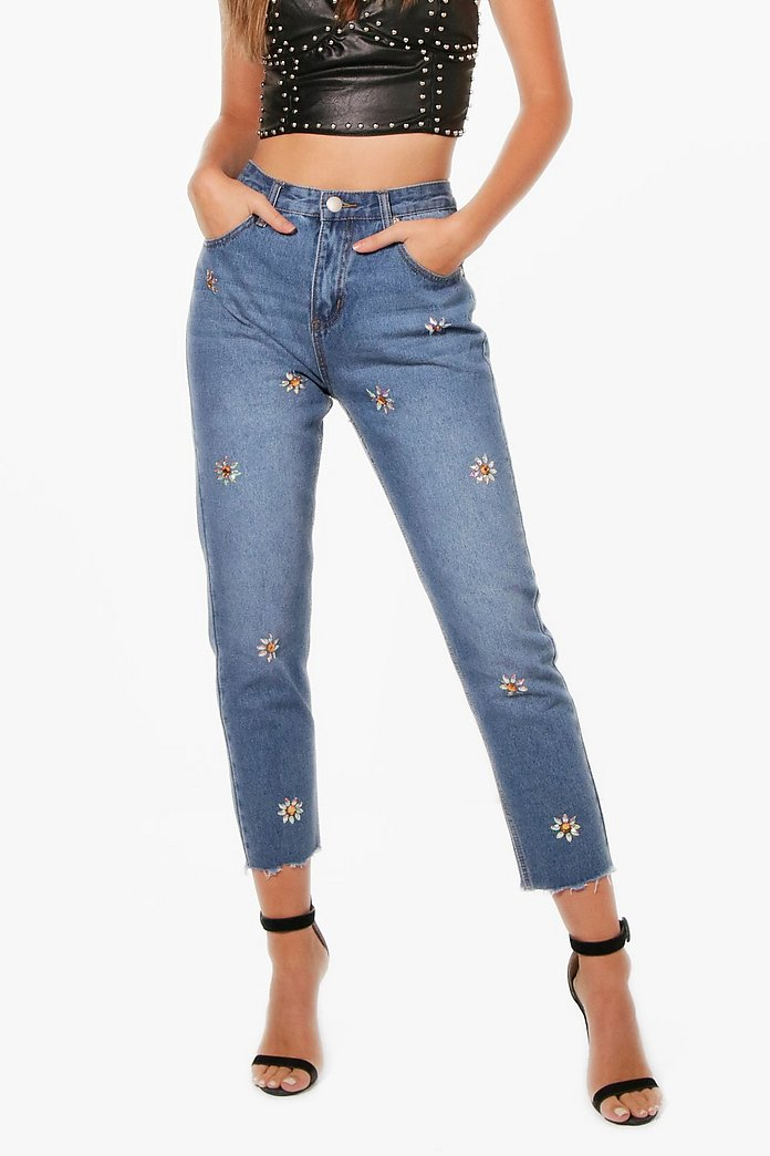uk availability best online the best Sophie High Waist Crystal Embellished Mom Jeans | Boohoo