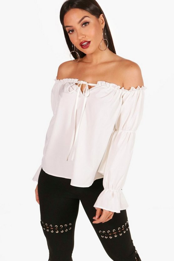 Amy Gathered Sleeve Ruffle Bardot