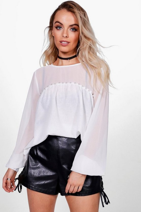 Rae Pearl Trim Balloon Sleeve Blouse