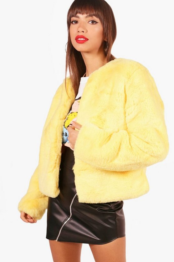 Womens Yellow Hailey Boutique Crop Faux Fur Coat