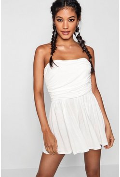 Womens Ivory Basic Ruched Bandeau Romper