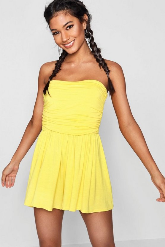 Womens Yellow Basic Ruched Bandeau Playsuit