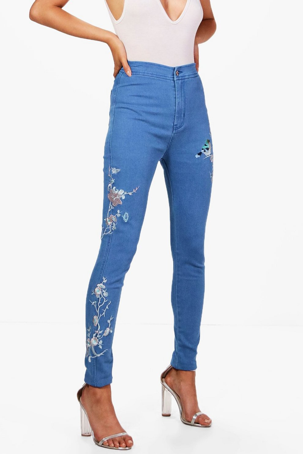 b2540cad5038 Womens Blue Lara High Rise Embroidered Tube Jeans
