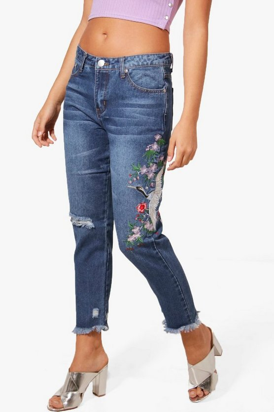 Sophie High Waist Oriental Embroidery Mom Jeans